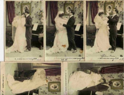 Série Complète 5 Cartes Couleur : Le Mariage - Couple - Précurseur (dos 1900) - Nozze