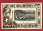 HAA-26  Montreux Et Dents Du Midi. Litho Avec DAme Helvetia Et Son Glaive Et Blasons De Tous Les Cantons Suisses. Relief - VD Vaud
