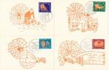 D21233 - 4 CARTES MAXIMUM CARDS FD 1967 NETH. ANTILLES - SPIDER'S WEB - MONKEY TIGER - REPROCARDS - Spiders