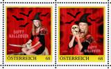 """2 Personalisierte Briefmarken PM 8116284 HALLOWEEN """"HEXE CONNY 2015""""  Witch Bat Skull Dagger Fledermaus Totenkopf Dolch - Austria"""