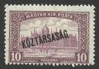 Hungary, 10 K. 1918, Sc # 167, MH. - Hungary
