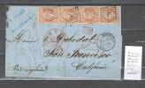 France - USA  Bordeaux � San Francisco via Paris - Calais - Liverpool - Boston - San Francisco- 1860