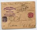 1898 - ENVELOPPE CHARGEE De BEGLES Près BORDEAUX (GIRONDE) Avec SAGE N° 97 & 98 - Marcophilie (Lettres)