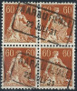 Helvetia Mit Schwert, 60 Rp.orangebraun  AARAU FILIALE  (Viererblock)           1931 - Suisse