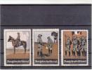 Vignetten Werbemarken, Jungdeutschland Thema Militär, Voirmilitärische Ausbildung, Drei Stück, Ca. 1910 - Werbung