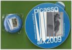 Autocollant + Badge Exposition Peinture PICASSO AIX 2009 - Autocollants