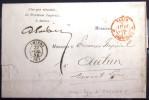 PARIS : CACHET 2077 - Paris 1 Franchise 1 - ROUGE + Ligne De Quiévrain 1  --  LAC  --  1854 - Marcophilie (Lettres)