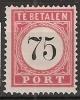 Ned Indie 1882 75ct Port  NVPH 13  Ongestempeld/MH/* - Niederländisch-Indien