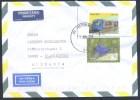 Brasil 2010 Air Mail Cover: Fauna Birds Yellow-billed Blue Finch (Porphyrospiza Caerulescens; Transportation Train Metro - Birds