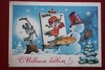 Snowman. Happy New Year!  - Player - HOCKEY - Postcard V Zarubin 1977 - Sports D'hiver