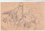 AK Handgemalt, Bleistiftzeichnung, Gegen Weinpanscher Gerichtet, Rüdesheim, Auf Ganzsache 1899 - Künstlerkarten