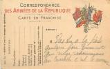 D-15 - 5566  : CARTE POSTALE FRANCHISE  MILITAIRE GROUPE DE DRAPEAUX - Marcofilia (sobres)