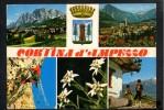 P1923 CORTINA D'AMPEZZO ( Belluno ) MULTIPLA CON SCALATORI E STEMMA - VIAGGIATA 1982 - Italia