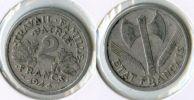 FRANCE (E694) une pi�ce 2 francs 1944 Bazor