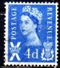 SCOTLAND 1958 Queen Elizabeth -  4d  - Blue  FU - Regional Issues