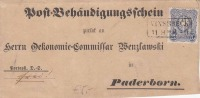 Deutsche Reichspost 1879 - 20 Pfg Auf Post-Behändigungsschein Abschnitt - Briefe U. Dokumente