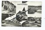 CPSM - Hartennes - Café Collette - Eglise - Route Nationale - Vues Générales - Autres Communes