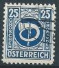 1945 AUSTRIA USATO CORNO DI POSTA 25 G - A151 - 1945-60 Gebraucht