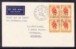 Australia 1960 - Christmas Bells Block 4  Private First Day Cover - Addressed - 1952-65 Elizabeth II : Pre-Decimals