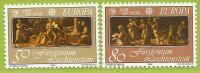 Liechtenstein 1985 807 808 ** Europa Musique Décoration Couvercle Clavecin Apollon Muses - Music
