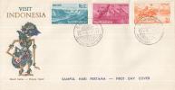 Indonesië - FDC 15-4-1961 - Bevordering Van Het Toerisme In Indonesië/ Visit Indonesia - Zonnebloem 292/294/298 - Vakantie & Toerisme