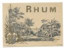 """Ancienne étiquette Rhum Plouvier & Cie Paris  N°225  """"travail De La Canne à Sucre"""" - Rhum"""