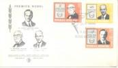 NOBEL PRIZE ARGENTINE 1976 FDC PREMIERE JOUR D´EMISSION PRIMER DIA DE EMISION SERIE COMPLETA - Prix Nobel