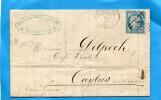 MARCOPHILIE-lettre Affranchie N°60A-obli étoile N°2 Cad Ma 1872 - Marcophilie (Lettres)