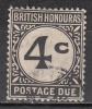 British Honduras     Scott No. J3   Used    Year   1923   Wmk 4 - British Honduras (...-1970)