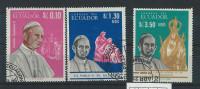EC - 1966 - 1242-1244 - PAPST PAUL VI   - USED - GESTEMPELT -ECUADOR - EQUATEUR - Equateur