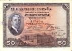 BILLETE DE 50 PTAS DEL AÑO 1927 CON SELLO SECO Y RESELLO DE LA REPUBLICA ESPAÑOLA HORIZONTAL TINTA AZUL - [ 1] …-1931 : Primeros Billetes (Banco De España)