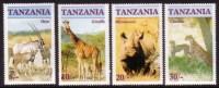 Tanzania 1986 Endangered Wildlife Wild Animals Ory Giraffe Rhinoceros Chetah Mammal Stamps MNH Sc 319-322 Michel 328-331 - Rhinozerosse