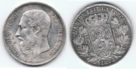 BELGICA BELGIQUE 5 FRANCS 1873 PLATA SILVER Wa - 09. 5 Francos