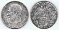 BELGICA BELGIQUE 5 FRANCS 1873 PLATA SILVER Wa - 1865-1909: Leopoldo II