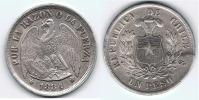 CHILE PESO 1884 SANTIAGO PLATA SILVER Wa BONITA - Chile