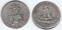 MEXICO PESO 1872 GUADALAJARA PLATA SILVER Wa - México