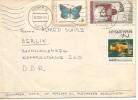 BULGARIA SOFIA 1966 CC SELLOS MARIPOSA ESPACIO VOSTOK-5-6 TERESKOVA - Cartas