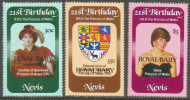 Nevis. 1982 Birth Of Prince William Of Wales. MNH Complete Set. SG 88-90 - St.Kitts And Nevis ( 1983-...)