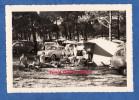 Photo Ancienne - FROMENTINE ( Vendée )- Le Camping - Famille Sous La Tente - Automobile Dauphine & Autre - 1960