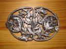 boucle de ceinture metal argent�  decor art nouveau  houx voir les photos