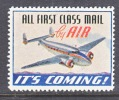VIGNETTE  FLY  FIRST  CLASS    **  AEROPHILATELIC - Air Mail