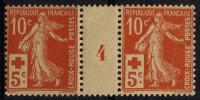 France (1914) N 147 * (charniere) Millesime 4 - Rotes Kreuz