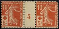 France (1914) N 147 * (charniere) Millesime 5 (1 Angle Arrondi) - Rotes Kreuz