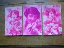 3 Cartes De Silhouettes Ou Portraits De Femmes - Silhouettes