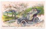 Präge Litho AK FRÖHLICHE PFINGSTEN Autofahrt, Mann Und Frau Auf Oldtimer Automobil, 1906 Gelaufen - Pinksteren