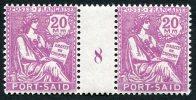 PORT-SAID N°82 ** 20 M. ROSE-LILAS PAIRE AVEC MILLESIME 8 - Neufs