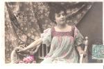 CPA Fantaisie-1907-Rêverie- Jolie Jeune  Fille- Demoiselle-Femme-colorisée - Femmes