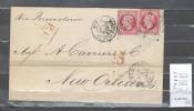 France  Lettre Pour Les Etats Unis - Paris Pour La Nouvelle Orléans - 1867 - 1849-1876: Période Classique