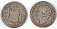 ESPAÑA ALFONSO XII 2 PESETAS 1884 PLATA SILVER Za - [ 1] …-1931 : Reino