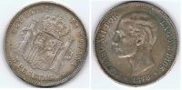ESPAÑA ALFONSO XII 5 PESETAS 1878 PLATA SILVER Za3 - [ 1] …-1931 : Reino